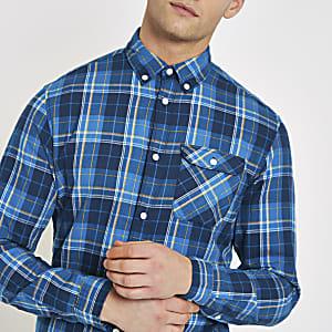 Jack & Jones - Blauw geruit overhemd