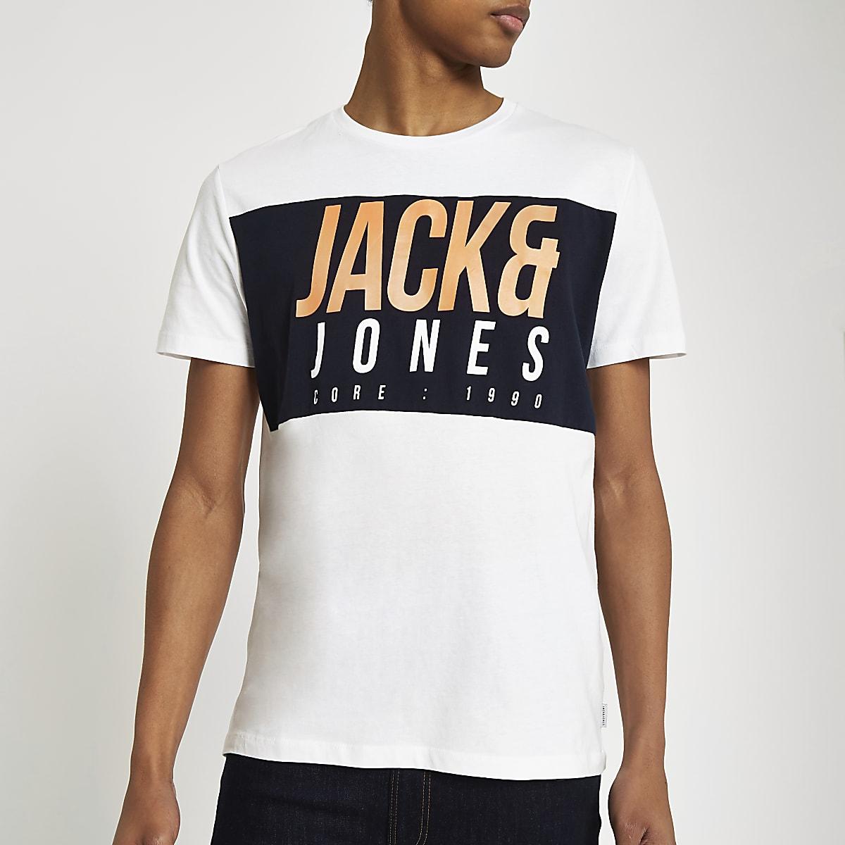 Jack & Jones Jonas white logo print T-shirt