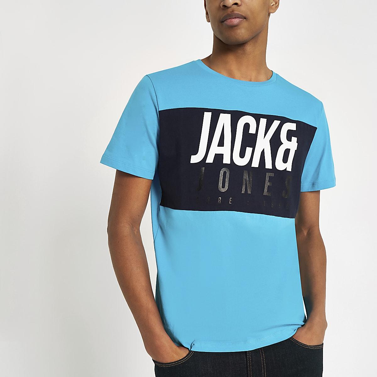 Jack & Jones Jonas blue logo print T-shirt