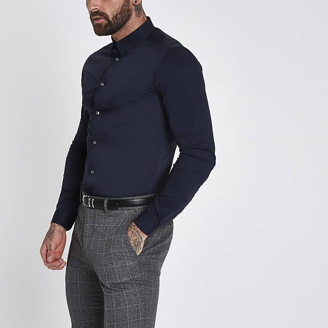 Navy muscle fit poplin long sleeve shirt