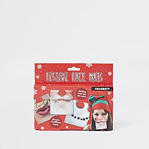 Red festive face mats