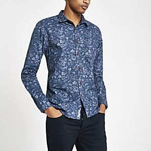 Pepe Jeans - Blauw overhemd met bloemenprint