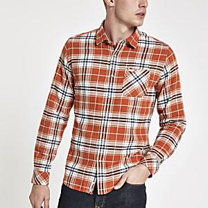 Pepe Jeans – Rot kariertes, langärmeliges Hemd