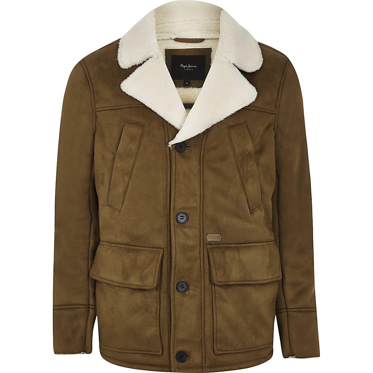 Pepe Jeans brown borg line jacket