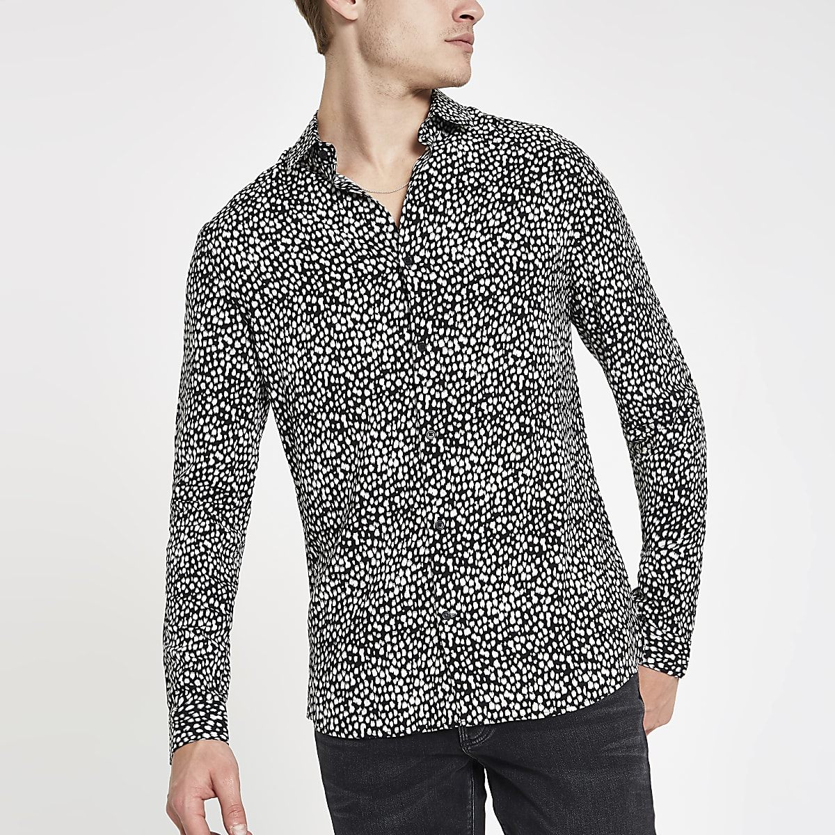 28aa67c2a115 Black leopard print long sleeve shirt - Long Sleeve Shirts - Shirts - men