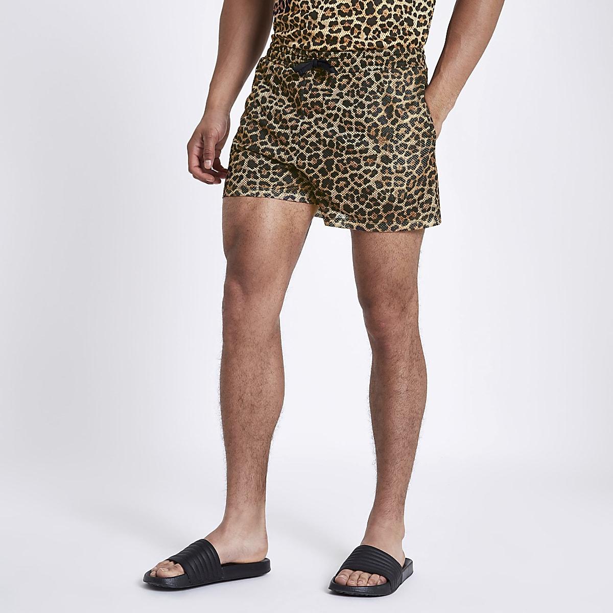 Brown leopard print slim fit mesh shorts