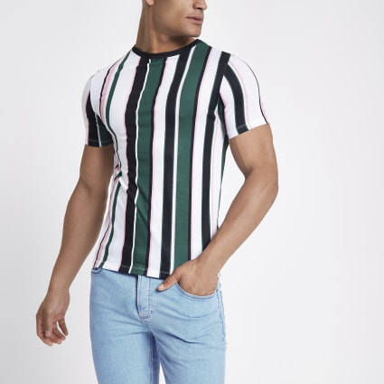 Green stripe crew neck T-shirt
