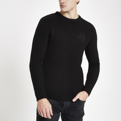 Black muscle fit rib crew neck jumper