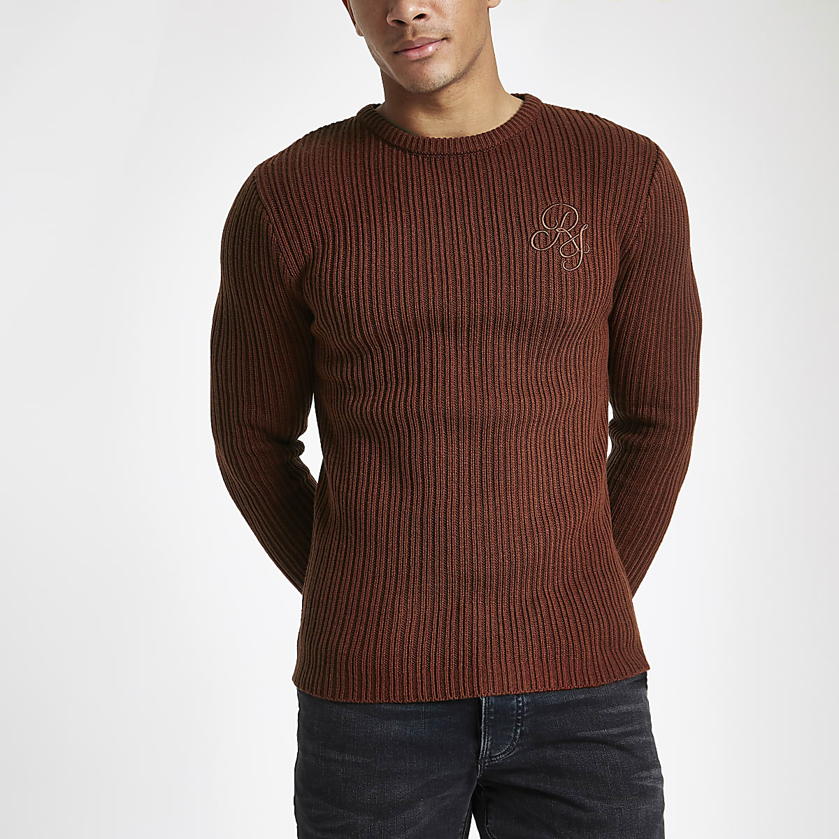 Rust muscle fit rib crew neck jumper