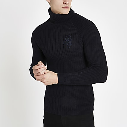 Navy muscle fit rib roll neck jumper