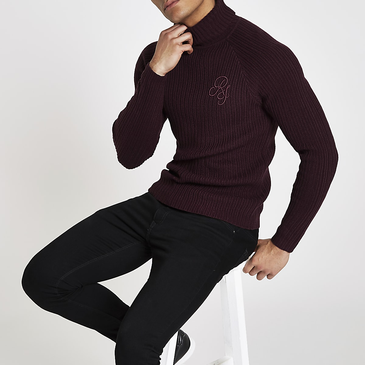 Dark red  muscle fit rib roll neck jumper
