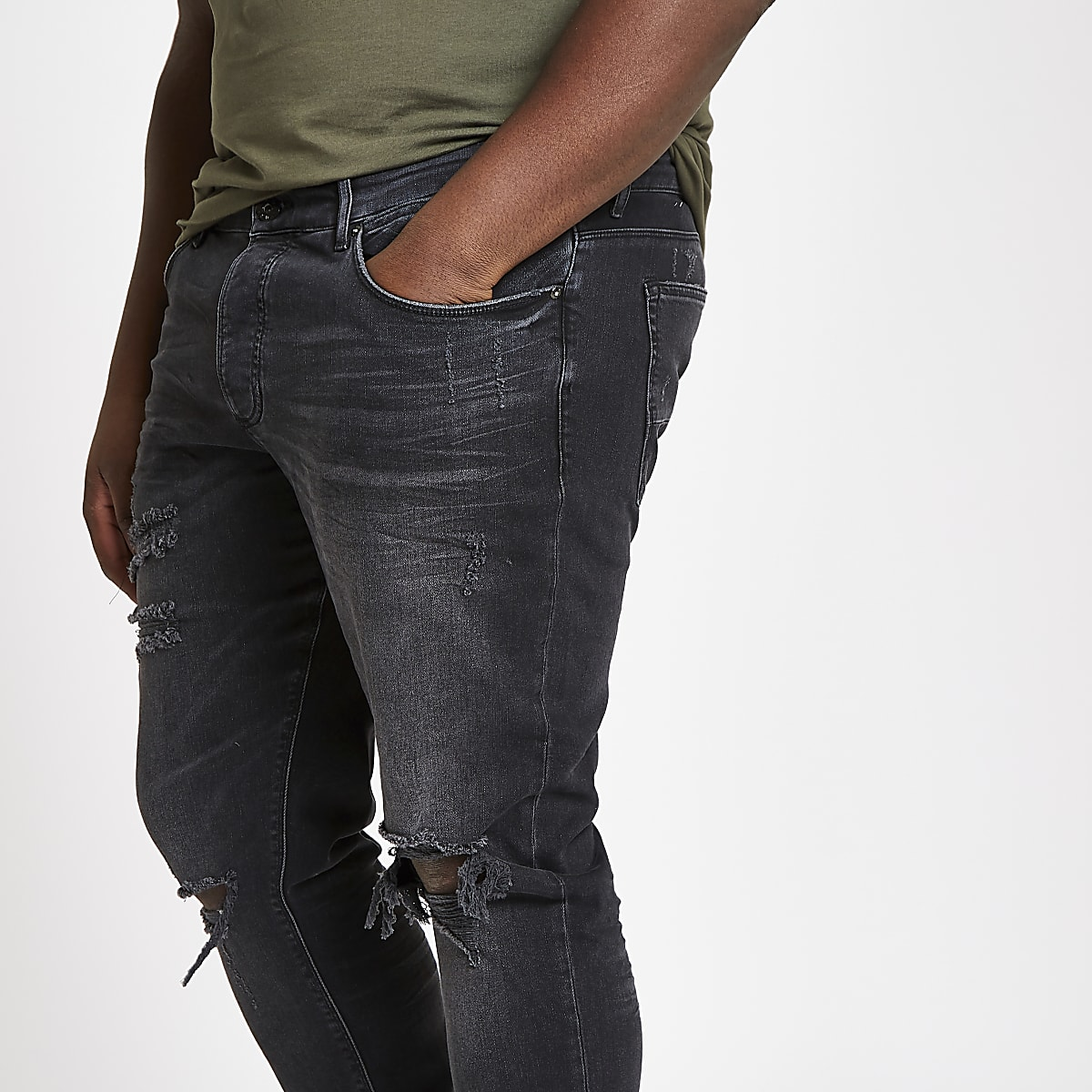 ade173f7 Big and Tall black ripped skinny jeans - Skinny Jeans - Jeans - men