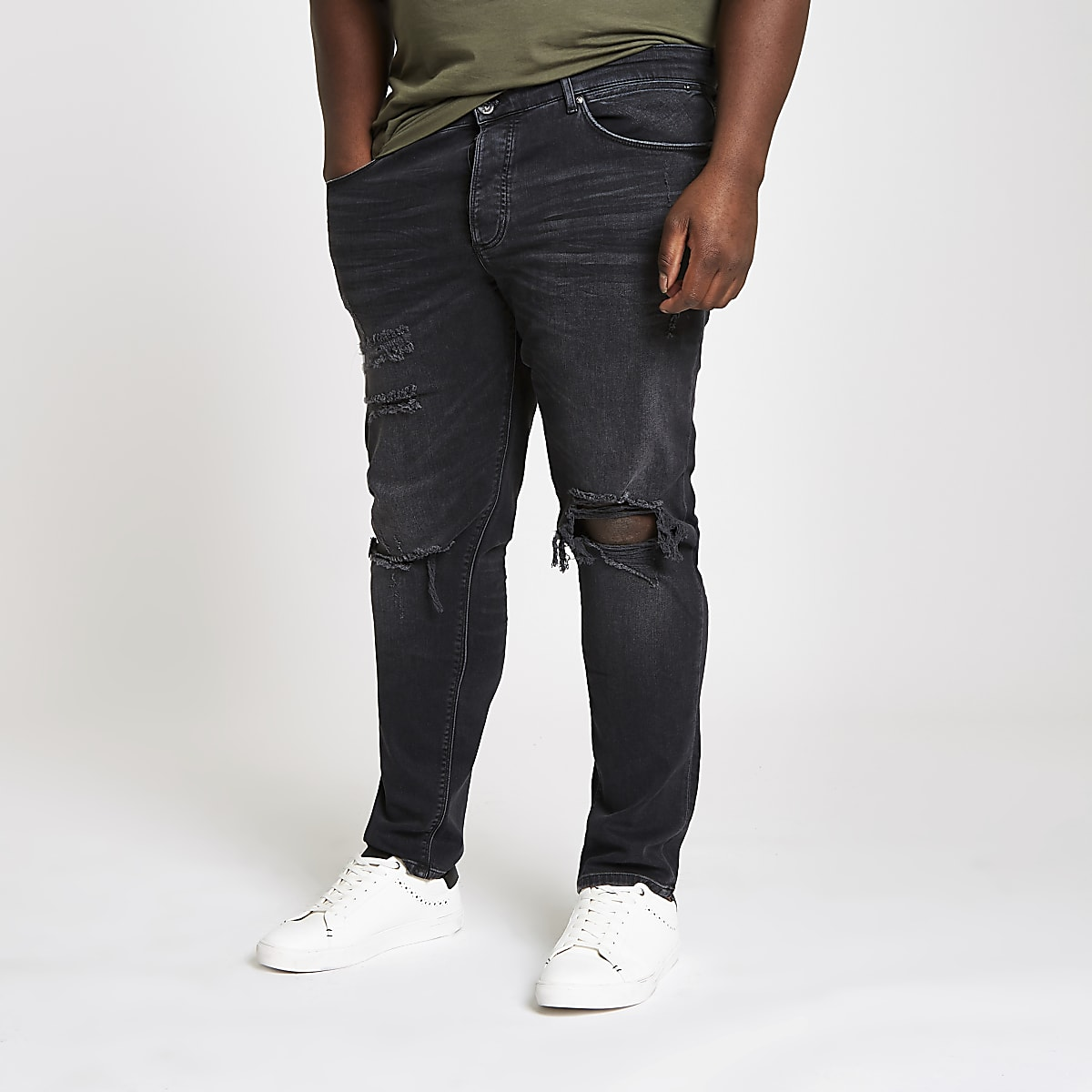 Big and Tall - Zwarte ripped skinny jeans