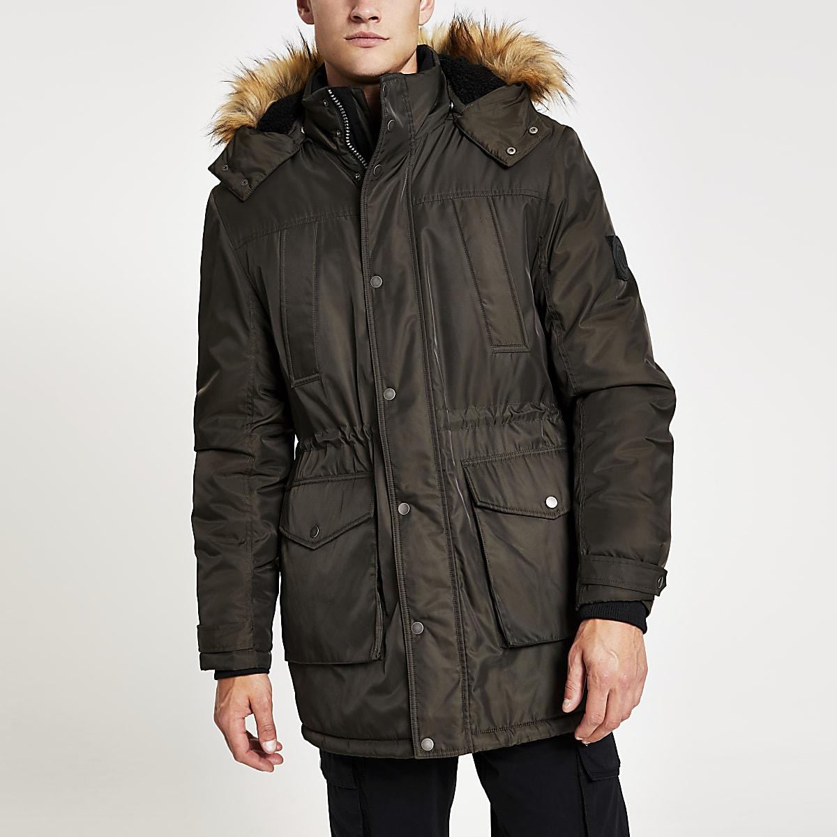 Khaki faux fur hooded parka jacket
