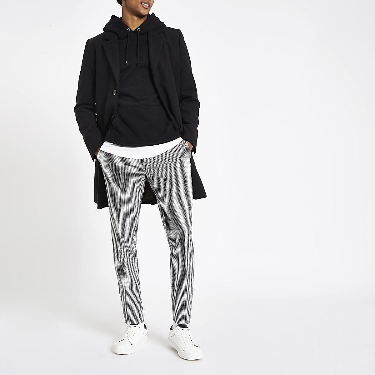 Grey houndstooth check slim fit smart pants