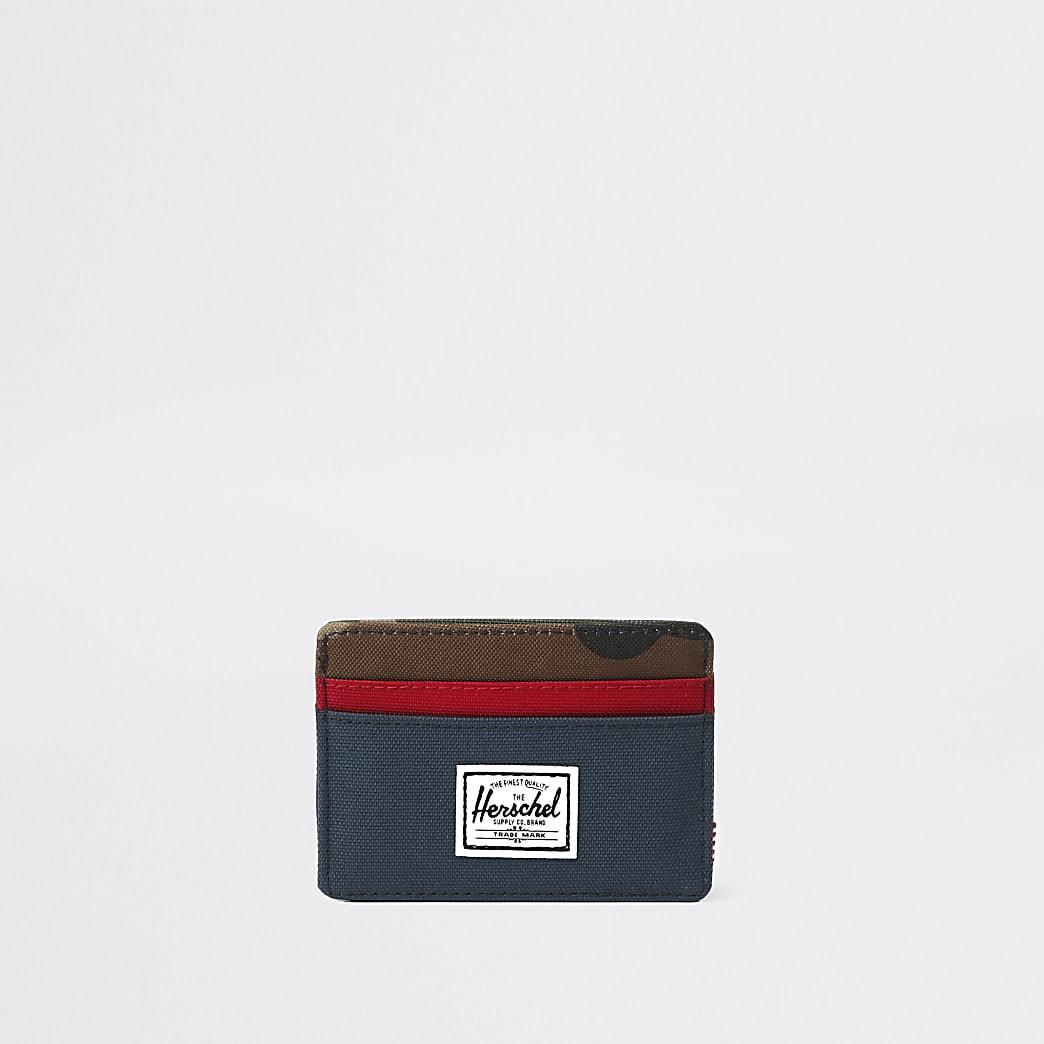 Herschel  - Charlie - Marineblauwe kaarthouder met camouglageprint