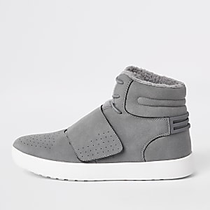 Grey fleece lined high top sneakers