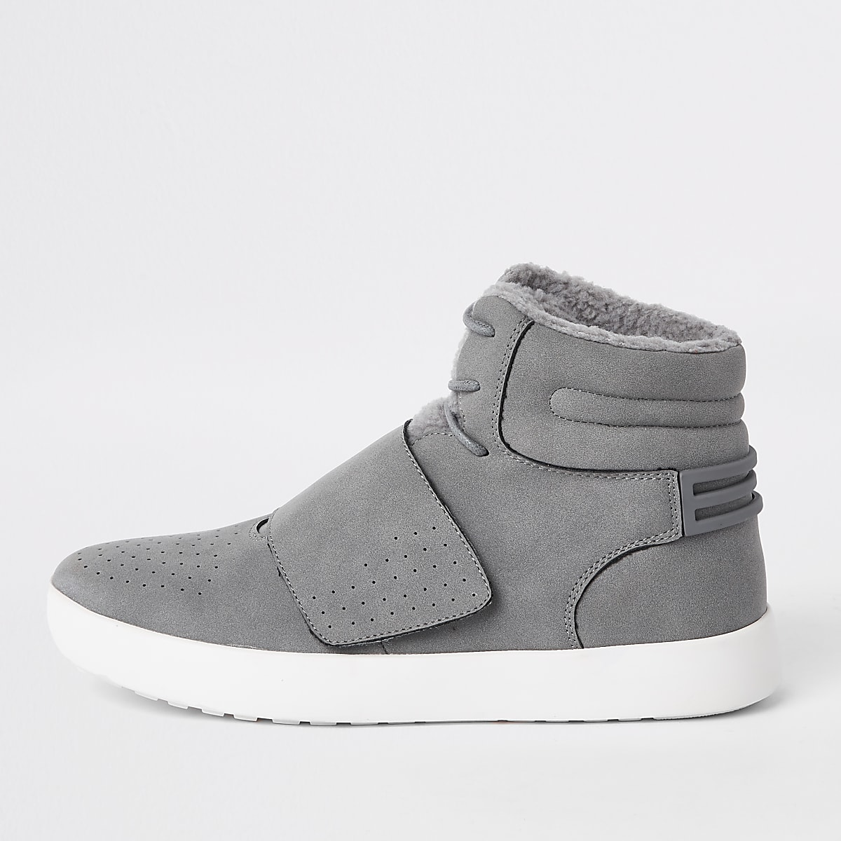 Grey borg lined high top trainers