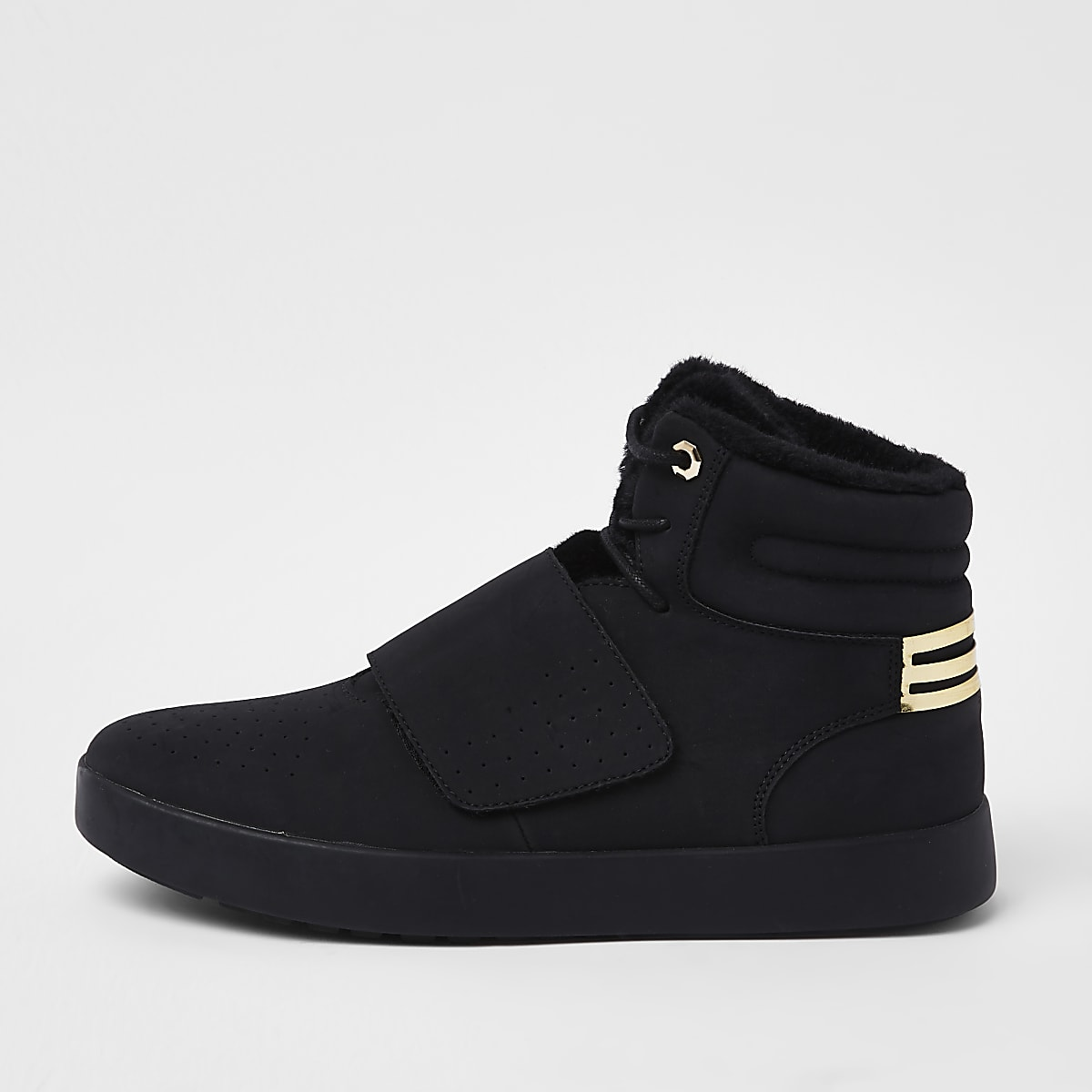 Black borg lined high top trainers