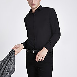 Chemise slim en popeline noire à manches longues