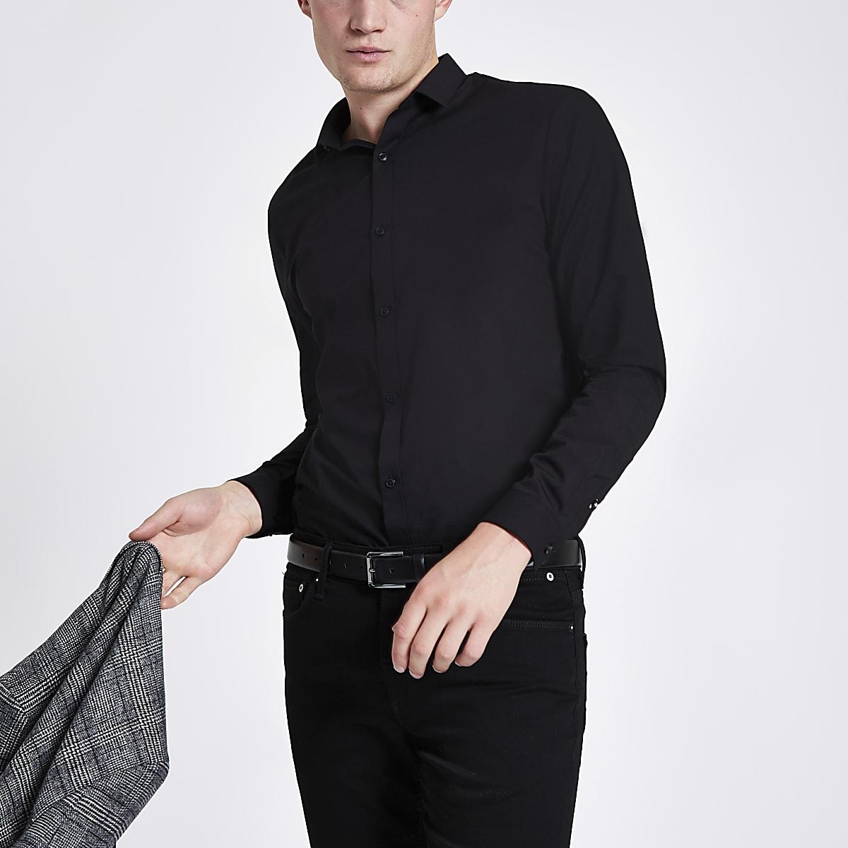 Schwarzes, langärmeliges Popelin-Hemd in Slim Fit