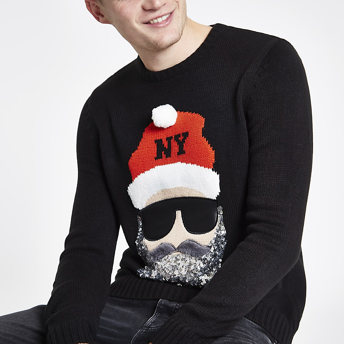 Black sequin Santa face Christmas sweater