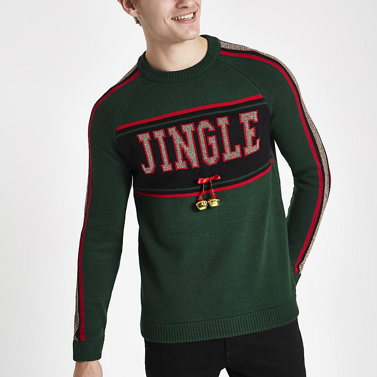 Green jingle bells Christmas jumper