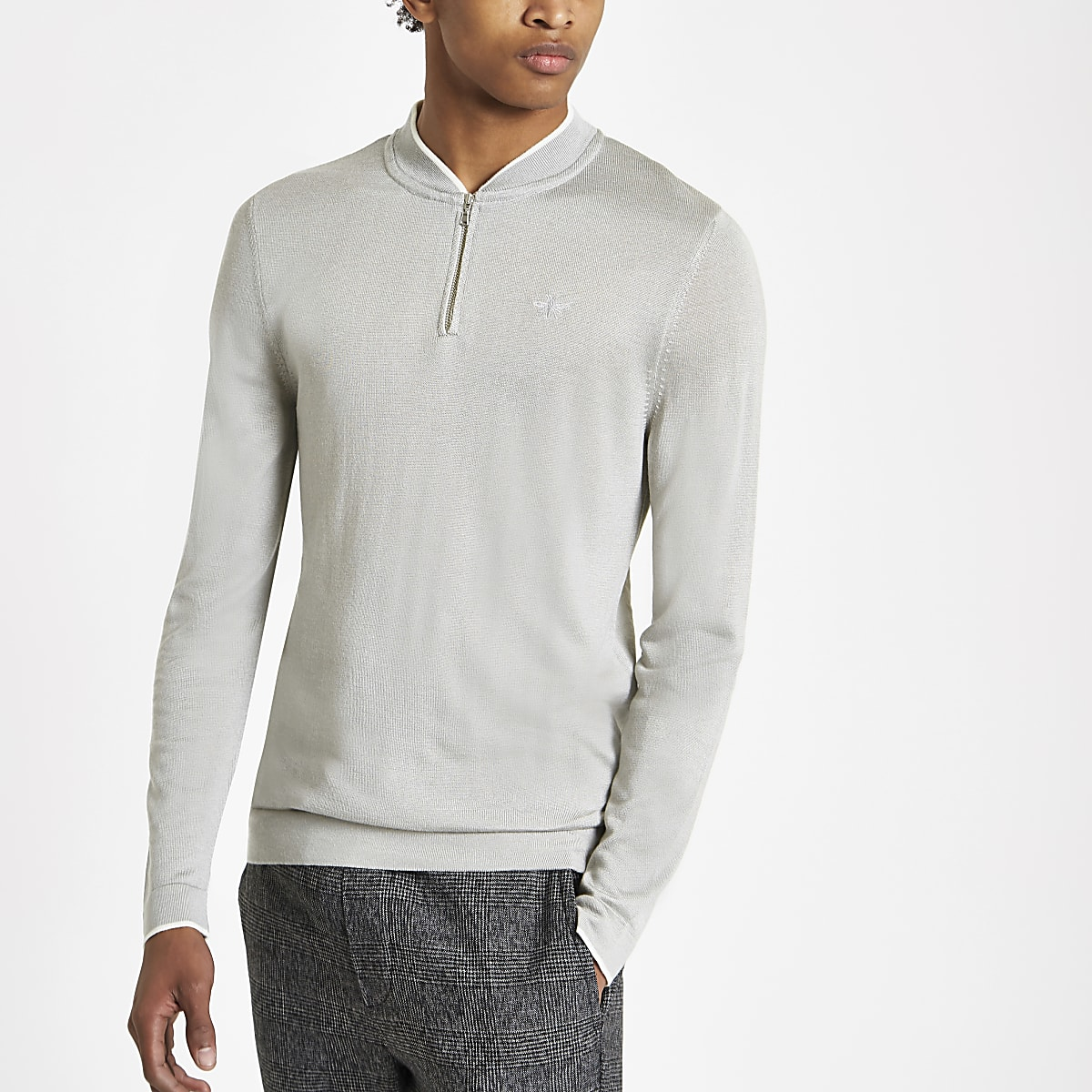 Grey muscle fit zip baseball top