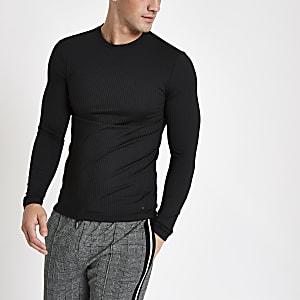 Zwarte geribbelde top met ronde hals en lange mouwen
