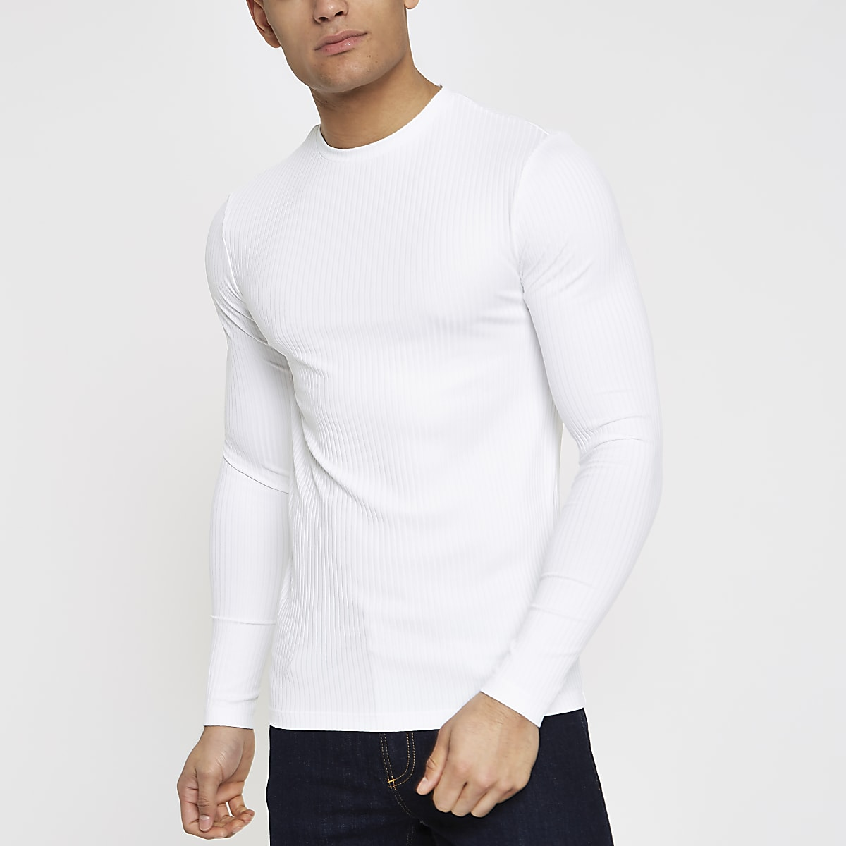 d7f54aa5cc45f White ribbed crew neck long sleeve top - Long Sleeve T-Shirts - T-Shirts    Vests - men