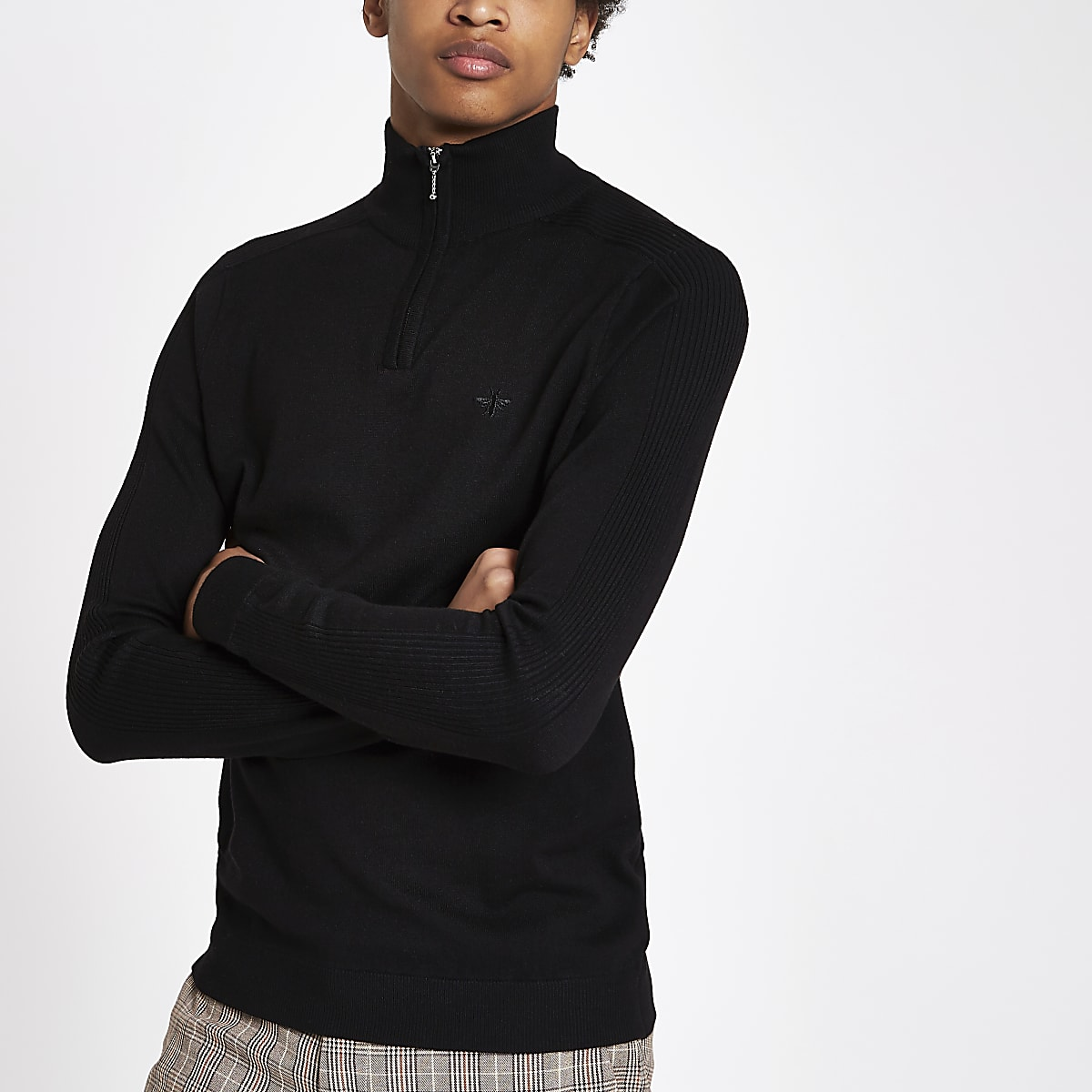 Black slim fit zip funnel neck jumper