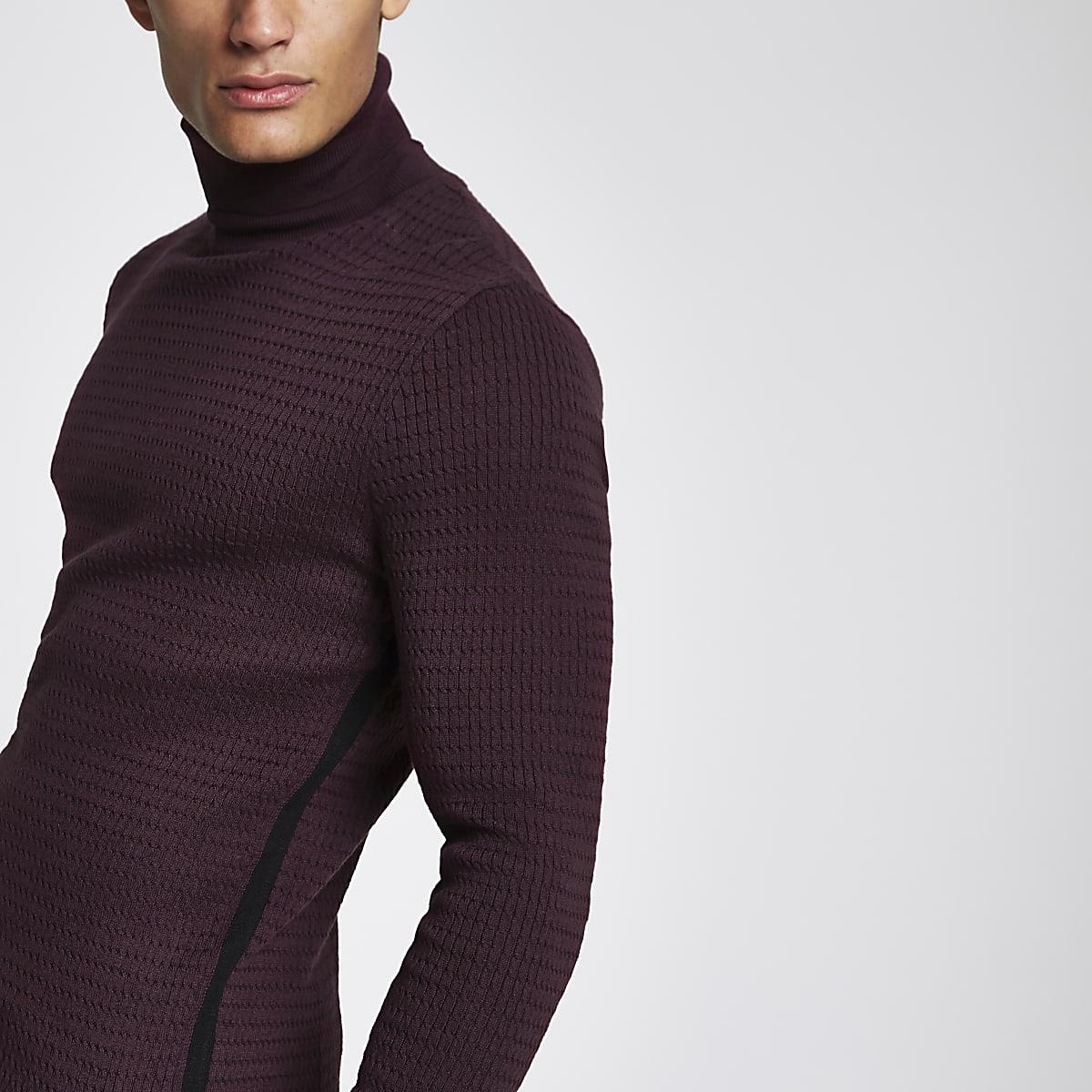 Red knit slim fit roll neck jumper