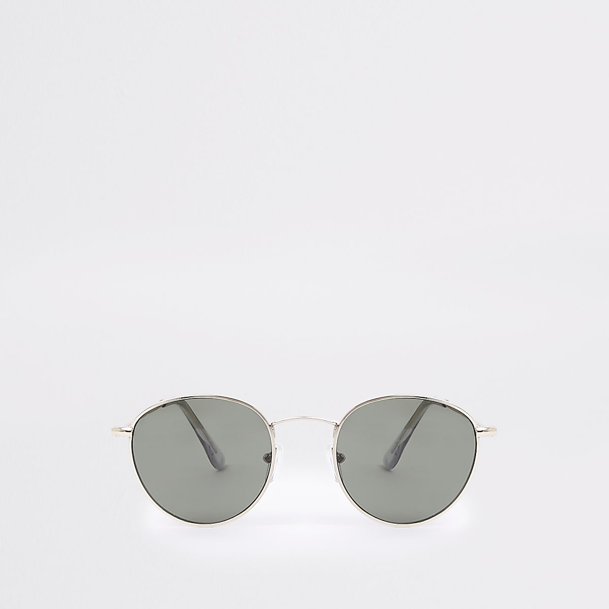 Gold tone round grey lens sunglasses