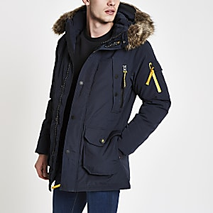 Superdry navy faux fur hooded parka jacket