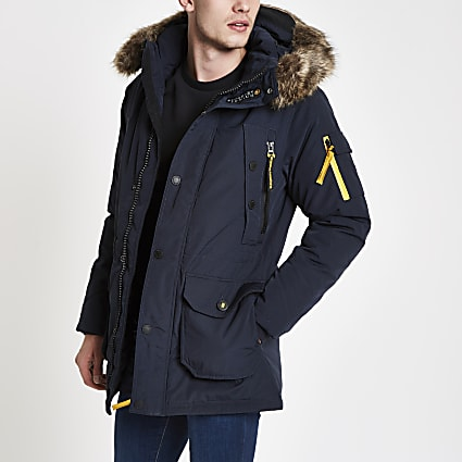 Superdry navy faux fur hooded parka jacket