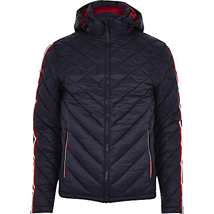 Superdry navy hooded quilted jacket