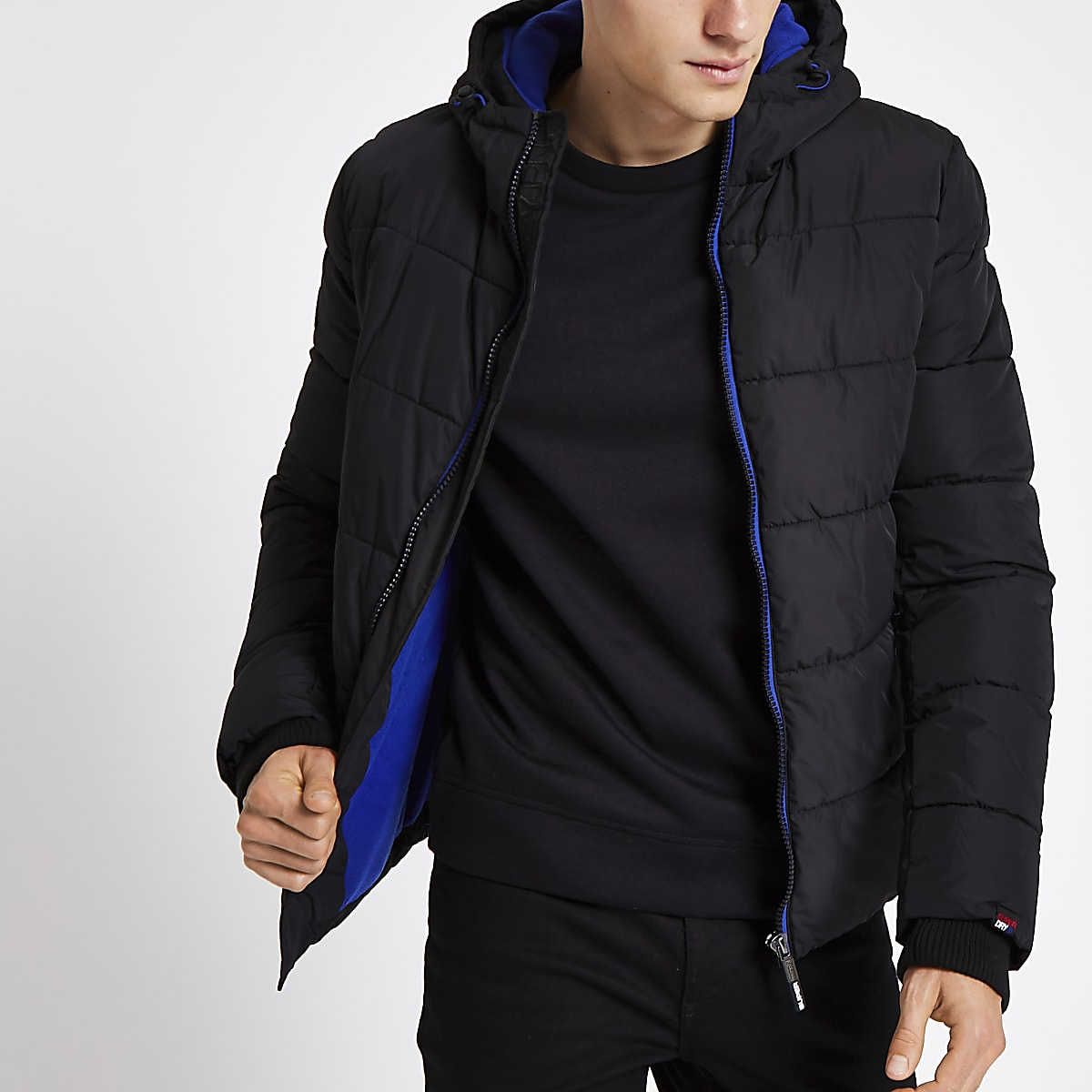 Superdry black funnel neck puffer jacket