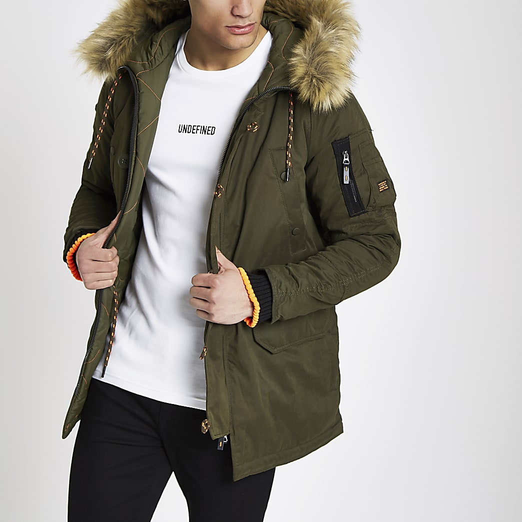 Superdry green faux fur trim parka jacket