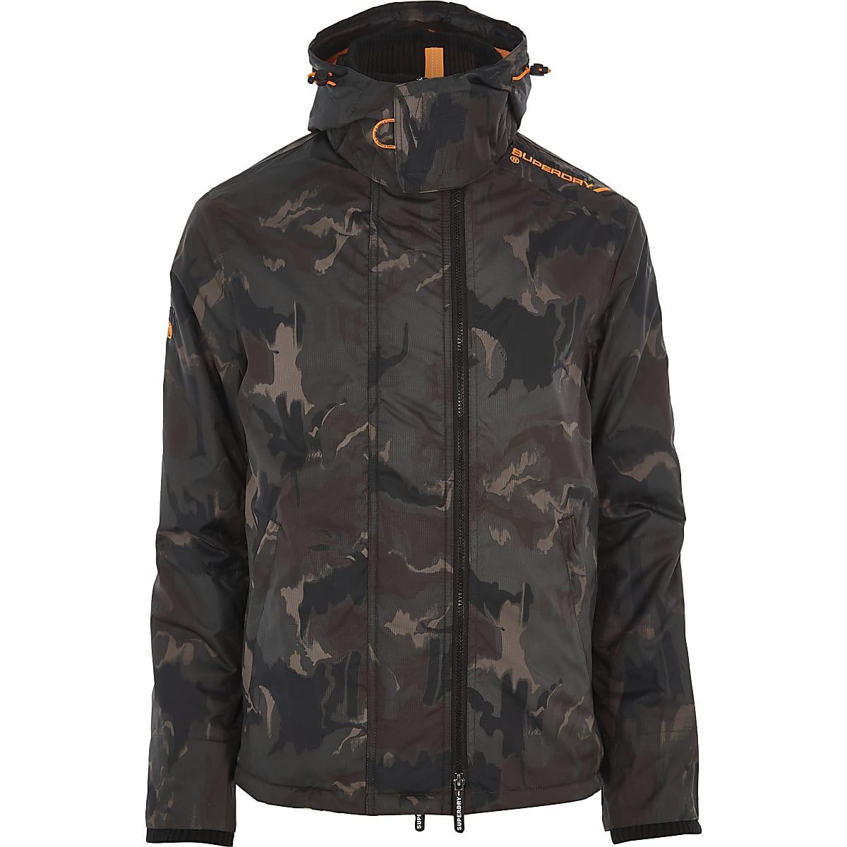 a13382bd58173 Superdry dark green camo funnel neck coat - Jackets - Coats ...