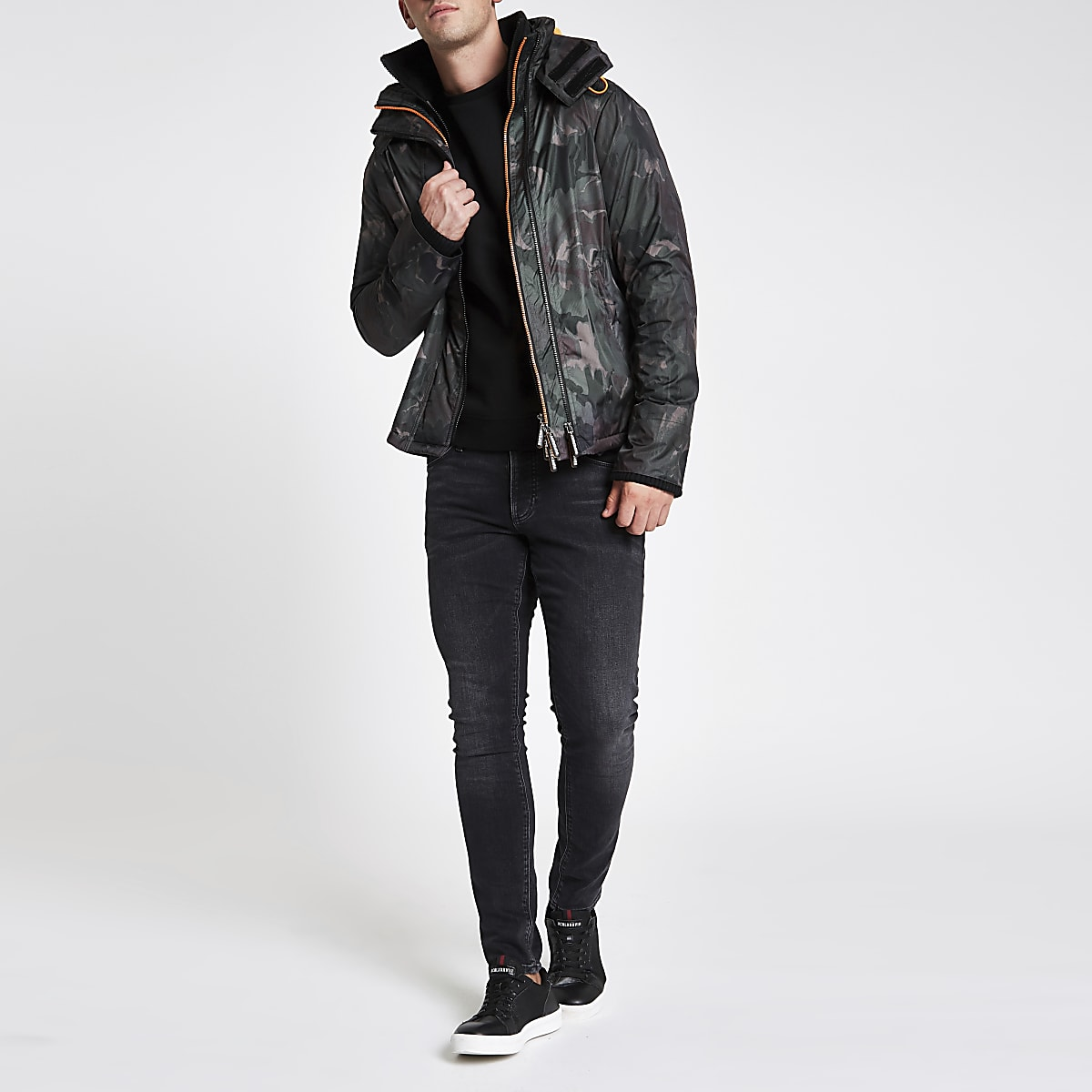 Superdry dark green camo funnel neck coat