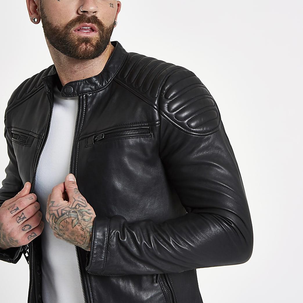 Superdry black leather racer jacket