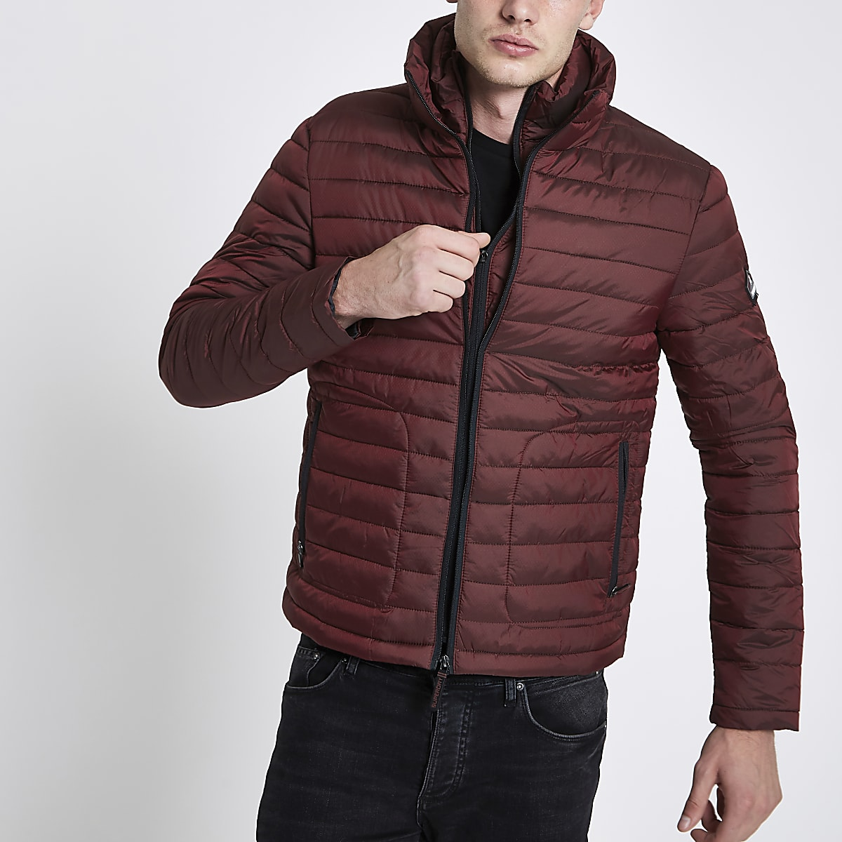 Superdry red zip funnel neck puffer jacket