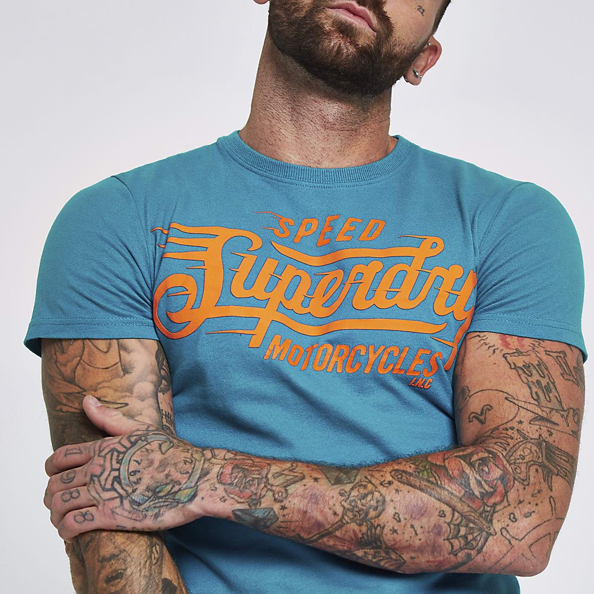 Superdry blue crew neck T-shirt