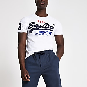 Superdry white logo print crew neck T-shirt