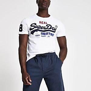 Superdry - Wit T-shirt met logoprint en ronde hals