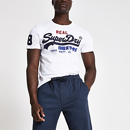 Superdry white logo print crew neck T-shirt