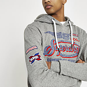 Superdry grey logo print hoodie