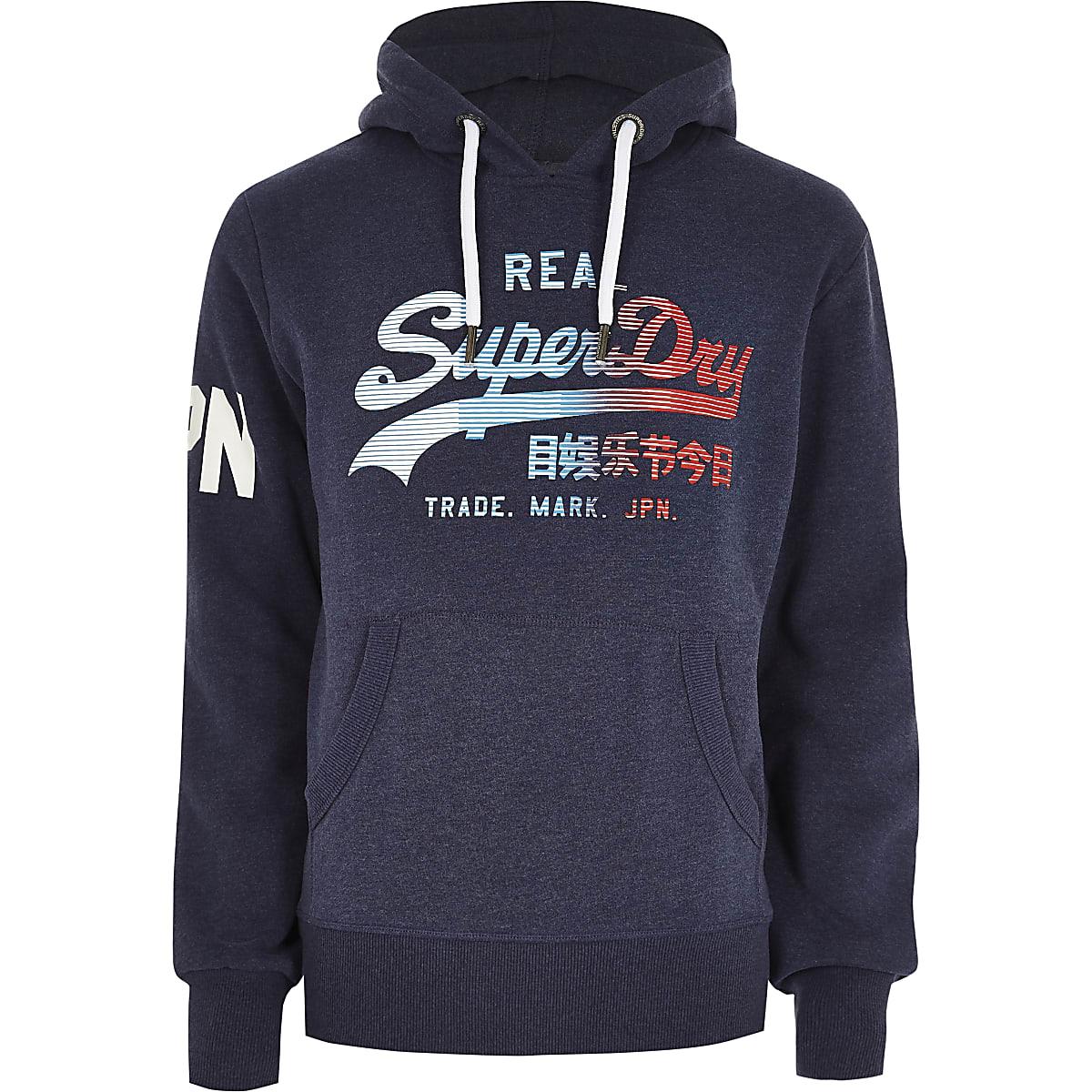 Superdry navy vintage logo print hoodie