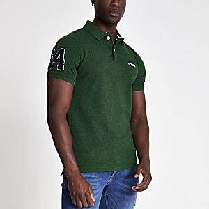 Superdry - Groen piqué poloshirt met logo