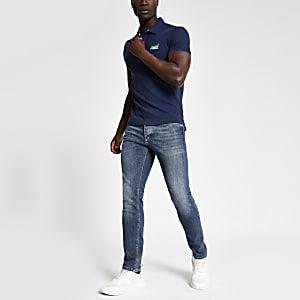 Superdry - Blauw piqué poloshirt met logo